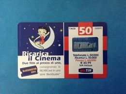 ITALIA SCHEDA TELEFONICA RICARICARD TIM USATA USED PHONE CARD - BETTY BOOP 50.000 LIRE SCAD. SET 2001 - Italy