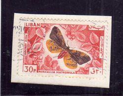 LIBANO LEBANON LIBAN 1965 AIR MAIL POSTA AEREA AERIENNE BUTTERFLY PAPILLON Pericallia Matronula 30p USATO USED OBLITERE' - Libano