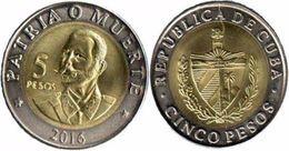 News - Cuba 5 Pesos 2016 - Monnaie Bimétalique - Antonio Maceo - PayPal Ok - Cuba