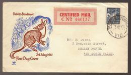 1961 Australia Native Animal Rabbit Bandicoot CERTIFIED MAIL FDC - FDC