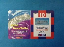 ITALIA SCHEDA TELEFONICA RICARICARD TIM USATA USED PHONE CARD - TROVATUTTO CINEMA 10.000 LIRE SCAD. SETT 2003 - Italy