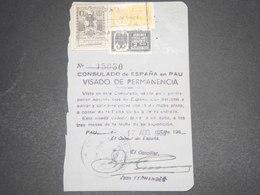 ESPAGNE - Document Du Consulat D 'Espagne à Pau En 1956 Avec Fiscaux - L 12536 - Revenue Stamps