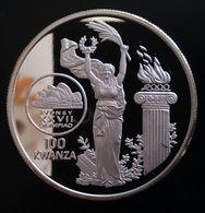 "ANGOLA 100 KWANZA 1999 SILVER PROOF ""Olympics 2000"" Free Shipping Via Registered Air Mail - Angola"