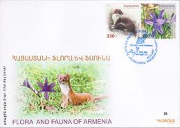 Armenia Arménie Armenien 2017 FDC Flora And Fauna Ixiolirion Montanum Mustela Nivalis Red Book Of Armenia Weasel MNH** - Armenia