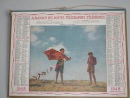Almanach Des  Postes,Télégraphes,Téléphones 1948 - Double Carton -  Enfants Au Cerf-volant Dept Aube - Calendars
