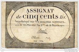 ASSIGNATS ASSIGNAT DE CINQ CENT LIVRES 20 PLUVIOISE AN 2° DE LA REPUBLIQUE - Assegnati