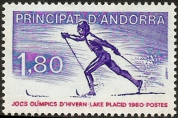 Andorra French 1980, Olympic Games Lake Placeid, 1 Value MNH, Cross-country Skiing - Winter 1932: Lake Placid