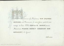 PORCELEINKAART * CARTE PROCELAINE * CORALIE VAN CAUWENBERGHE ET PIERRE VAN BOGAERT * GENT * 12 X 8.50 CM - Wedding