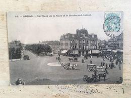 62 - CPA Animée ARRAS - La Place De La Gare Et Le Boulevard Carnot (BD -95) - Arras