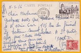 1956 - Enveloppe De Southampton, GB Vers Saint Quatre, France - Paquebot - Posté à La Mer - Postmark Collection (Covers)