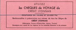 LES CHEQUES DE VOYAGE DU CREDIT LYONNAIS - Bank & Insurance