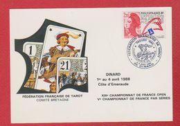 Carte Premier Jour / Fédération Française De Tarot  / Dinard / 2-3 Avrili 1988 - Cartas Máxima