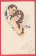 ILLUSTRATEUR C. MONESTIER - Scène Amoureuse - Couple - Ann.1920 !! SUP 2 SCANS* - Monestier, C.