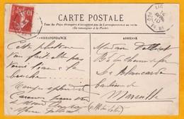 1910 - 10c Semeuse Camée Sur CP Vers Marseille, France - Paquebot Ligne -  Vue Tourane Par Gros Temps - Postmark Collection (Covers)