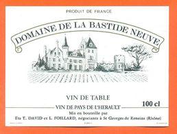 étiquette Vin De Table Domaine De La Bastide Neuve Foillard à Saint Georges De Reneins - 11°/° - 100 Cl - Castles