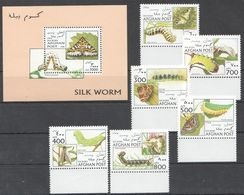 T573 1996 AFGHAN POST INSECTS & BUTTERFLIES SILK WORM 1SET+1BL MNH - Insects