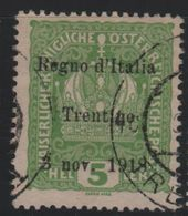 1918 Francobolli D'Austria Trentino-Alto Adige Terre Redente 5 H. US - Trentino