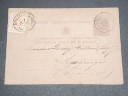BELGIQUE - Entier Postal + Complément De Bruxelles Pour La France En 1877 - L 12582 - Stamped Stationery