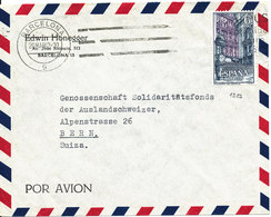 Spain Air Mail Cover Sent To Switzerland Barcelona 20-3-1962 Single Franked - Airmail