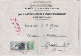 FRANCE  LETTRE DE MULHOUSE POUR ST.GALL TIMBRE PERFORE S.A.C.M. - Perforés