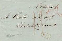 Lettre Précurseur Au Départ De Courtray (Belgique) Pour Thiviers (Dordogne), Cachet Rouge De Courtray +cachet Belgique. - 1830-1849 (Belgique Indépendante)