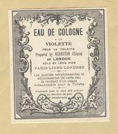 Etiquette Parfum Eau De Cologne à La Violette Pour La Toilette ... Burnston Chimist Of LONDON ... 6,7 Cm X 7,8 Cm - Labels