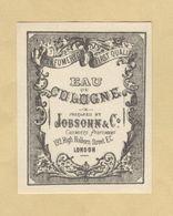 Etiquette Parfum Eau De Cologne Jobsohn & Cie Chemists Perfumers LONDON ... 5 Cm X 6,4 Cm Superbe.Etat - Labels