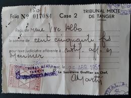 Maroc Espagnol - Marruecos - Tanger 1951 - Recibo Del Tribunal - Maroc Espagnol