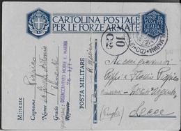 FRANCHIGIA MILITARE - CARTOLINA (INT. 22C) DA DISTACCAMENTO MOBILE MARINA 10.12.1940 - CENSURA - 1900-44 Vittorio Emanuele III