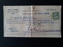 Maroc Espagnol - Marruecos - Tanger 1953 - Recibo De Alquiler (loyer) - Spanish Morocco