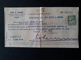 Maroc Espagnol - Marruecos - Tanger 1953 - Recibo De Alquiler (loyer) - Maroc Espagnol