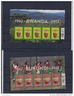 Belgie - Belgique 4240/41 Velletjes Van 5 Postfris - Feuillets De 5 Timbres Neufs  -  50 Jaar Rwanda - Burundi - Feuilles Complètes
