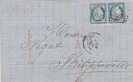 N° 37  SUR LAC  GC   5055  ALGER  POUR PHILIPPEVILLE / ALGERIE DU 4 JUIL. 1871- REF 14112 + VARIETE - Marcophilie (Lettres)