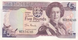 Jersey Banknote  (Pick 27a) Five Pound C Series, Code KC- Superb UNC Condition - Jersey