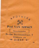Pub Reclame Zakje  - Paul Van Nitsen - Apotheker Diest - Gezondheidsthee - Publicité