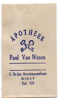 Pub Reclame Zakje  - Apotheek Paul Van Nitsen - Apotheker Diest - Non Classés