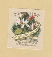 Etiquette Parfum Poudre De Riz Au Cyclamen Ambré .... Galerie Lyonnaise LYON - 3,6 Cm X 4,1 Cm En Superbe.Etat - Labels
