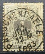 BELGIUM 1896 COAT OF ARMS LYING LION INK PASSCHENDAELE - 1869-1888 Lying Lion