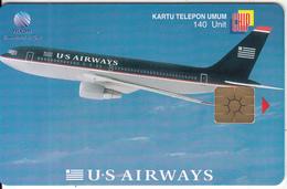 INDONESIA(chip) - U.S.Airways, Telkom Telecard 140 Units, Tirage 2000, 02/00, Used - Flugzeuge