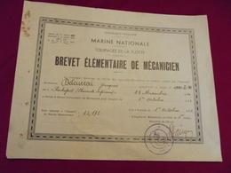 MARINE NATIONALE . équipages De La Flotte . Brevet élémentaire Mécanicien 1938 - Boten