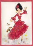 CPA-BRODÉE - Danseuse Gitane - Flamenco *Castagnettes_  Broderie ** 2 SCANS* - Embroidered