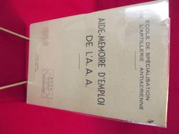 ECOLE DE SPECIALISATION DE L'ARTILLERIE ANTIAERIENNE .aide Mémoire 1953 - French