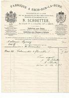 ESCH-SUR-SURE. ARLON--N.SCHOETTER, Fournisseur De La Cour Du Roi Des Pays-bas,Grand-duc 1887. - Luxembourg