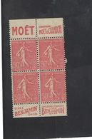 MOËT & Chandon  - Benjamin , Bloc De 4  Semeuse Lignée 50 C YT 199 ( Tiré D'un Carnet ) - Advertising
