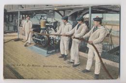 MARINE - Bateau De Guerre - 1915 - La Vie Du Marin - Manoeuvre Du Treuil  - MARINS -  Colorisée Aqua Photo - Animée - Guerre 1914-18