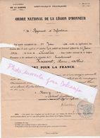 Chevalier Légion D' Honneur à Titre Posthume / 1920 / 26ème RI / Lieutenant VINCENT Mort Pour La France 30 Juillet 1916 - Francia