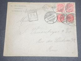 DANEMARK - Enveloppe Commerciale En Recommandé De Copenhague Pour Paris En 1900 -  L 12634 - 1864-04 (Christian IX)