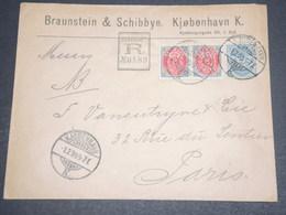 DANEMARK - Enveloppe Commerciale En Recommandé De Copenhague Pour Paris En 1899 -  L 12635 - 1864-04 (Christian IX)
