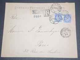 NORVÈGE - Enveloppe Commerciale En Recommandé De Christiania Pour Paris En 1899 -  L 12636 - Briefe U. Dokumente