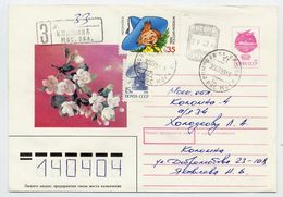 RUSSIA 1993 Soviet Union 7 K. Envelope Uprated With Handstamp 2R.43K. And Additional Stamps. - 1992-.... Federation